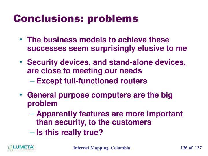 Conclusions: problems
