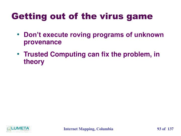 Getting out of the virus game