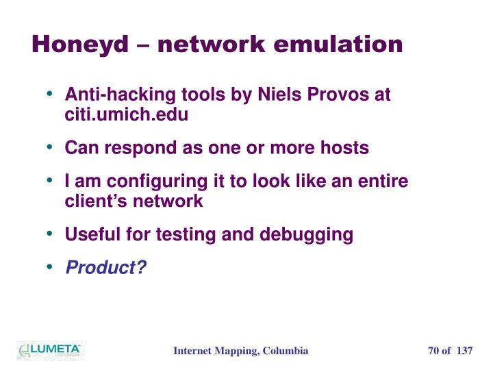 Honeyd – network emulation