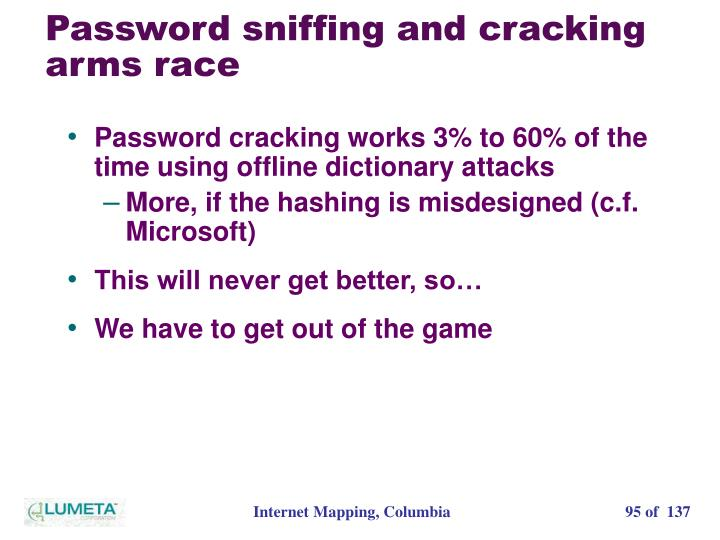 Password sniffing and cracking arms race