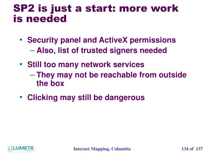 SP2 is just a start: more work is needed