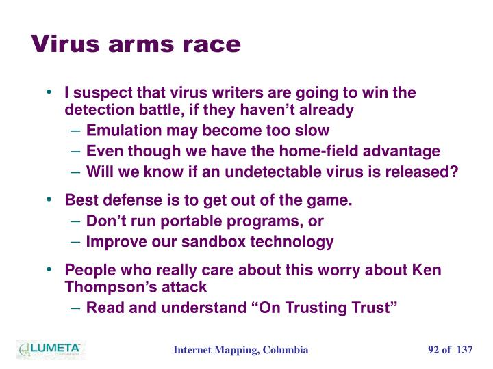Virus arms race