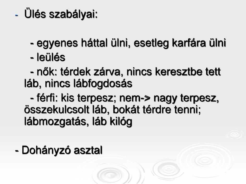 Ülés szabályai:
