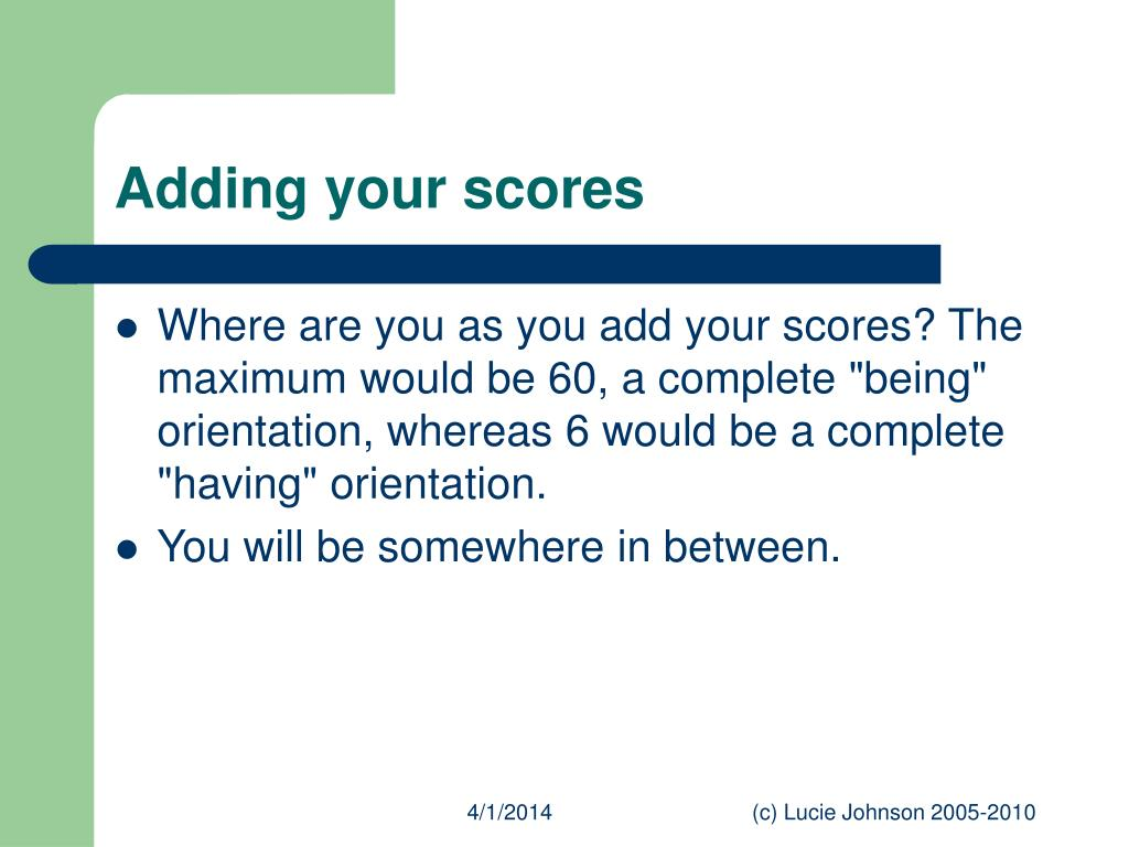 Adding your scores