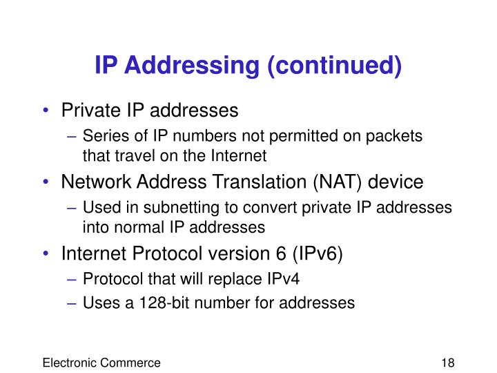 IP Addressing (continued)