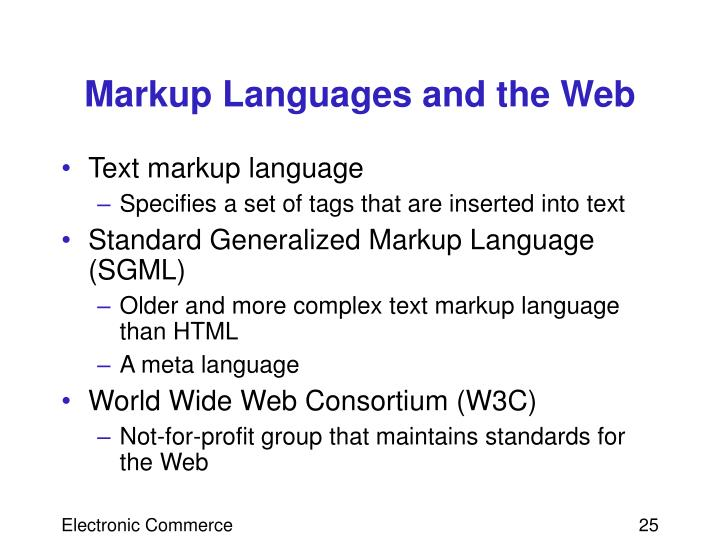 Markup Languages and the Web