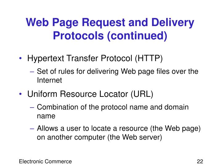 Web Page Request and Delivery Protocols (continued)