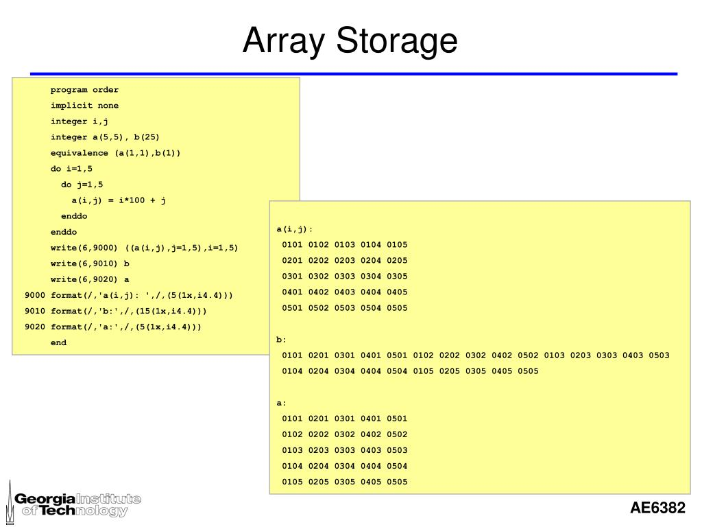 Array Storage