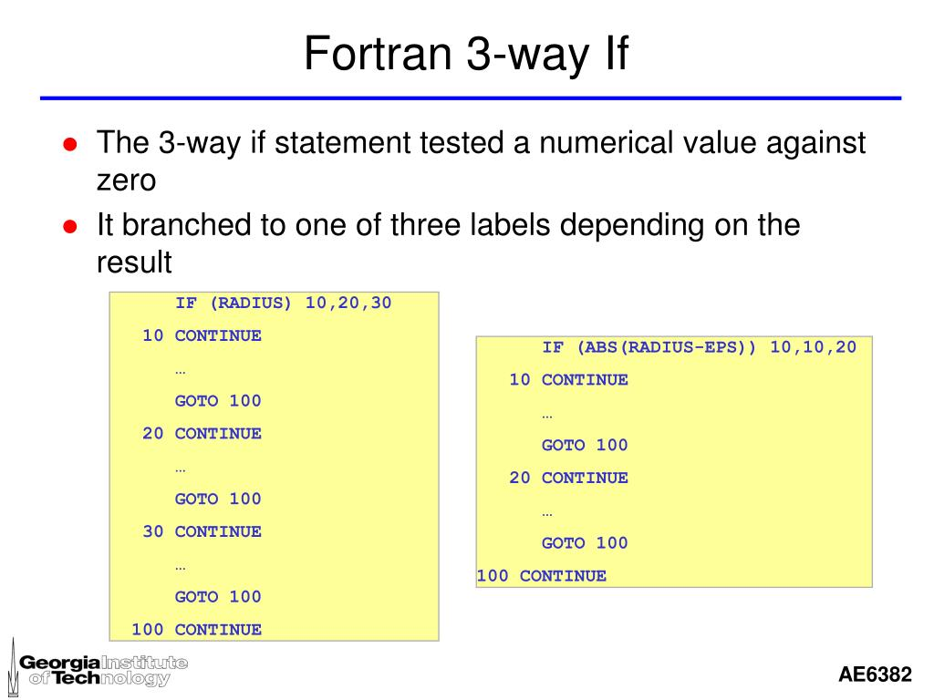 Fortran 3-way If
