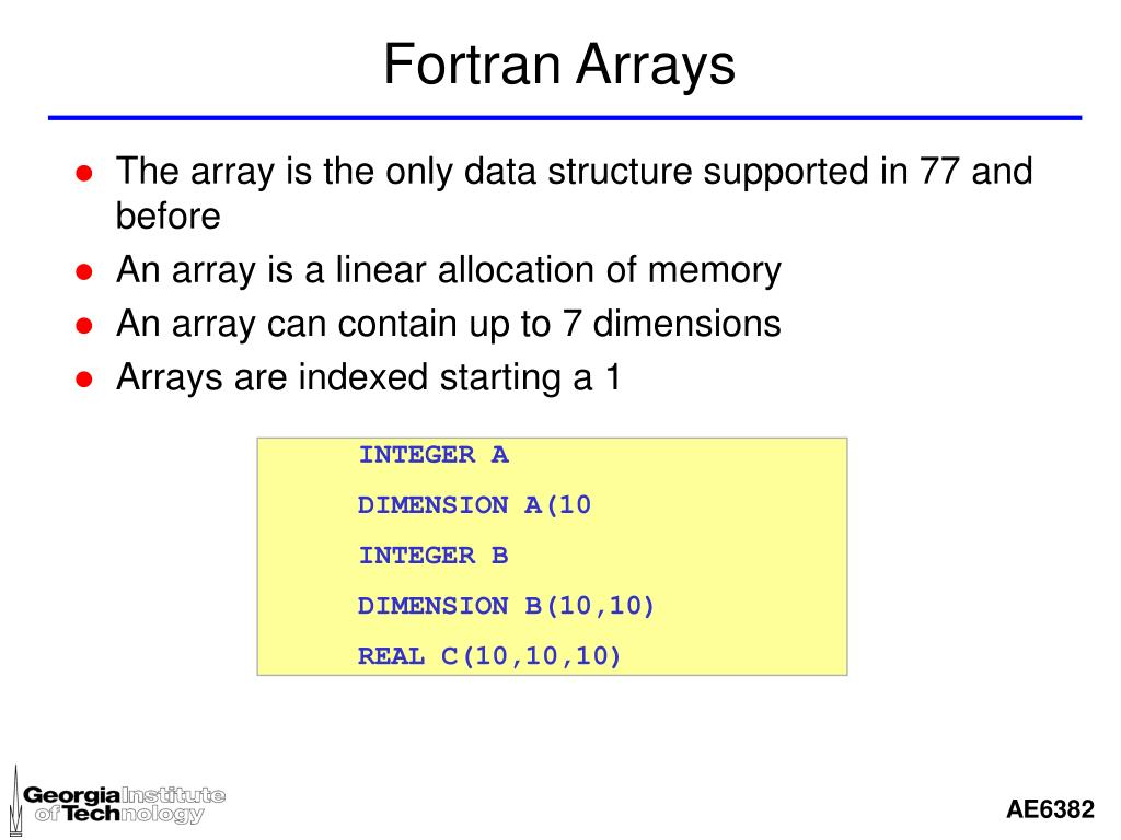 Fortran Arrays