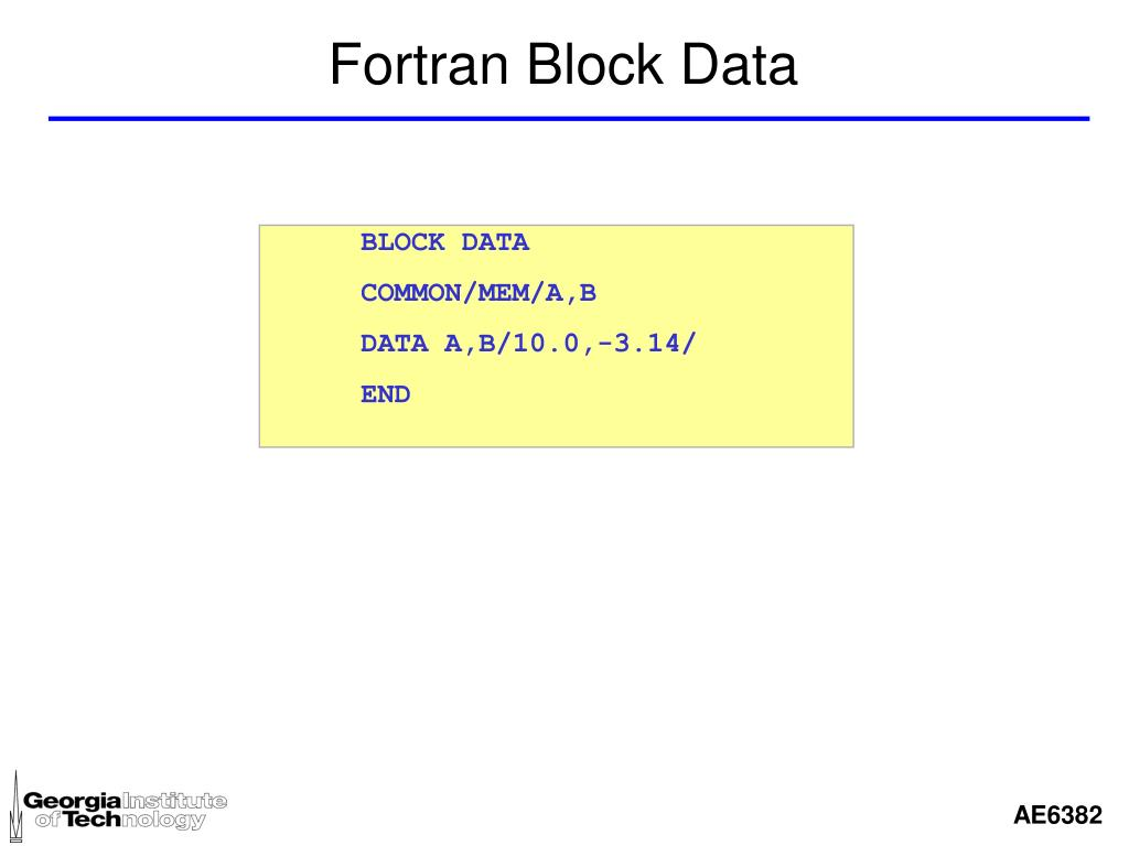 Fortran Block Data