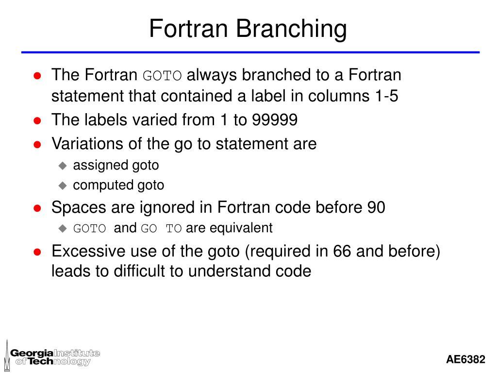 Fortran Branching