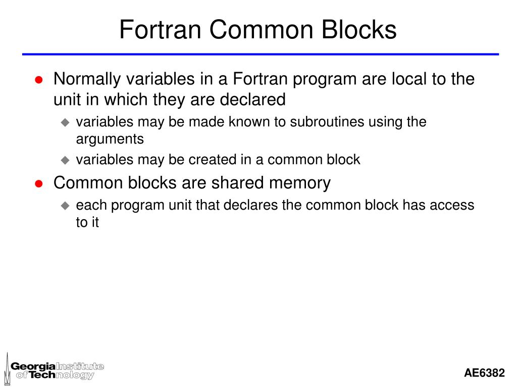 Fortran Common Blocks
