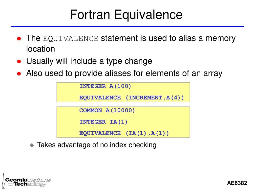 Fortran Equivalence