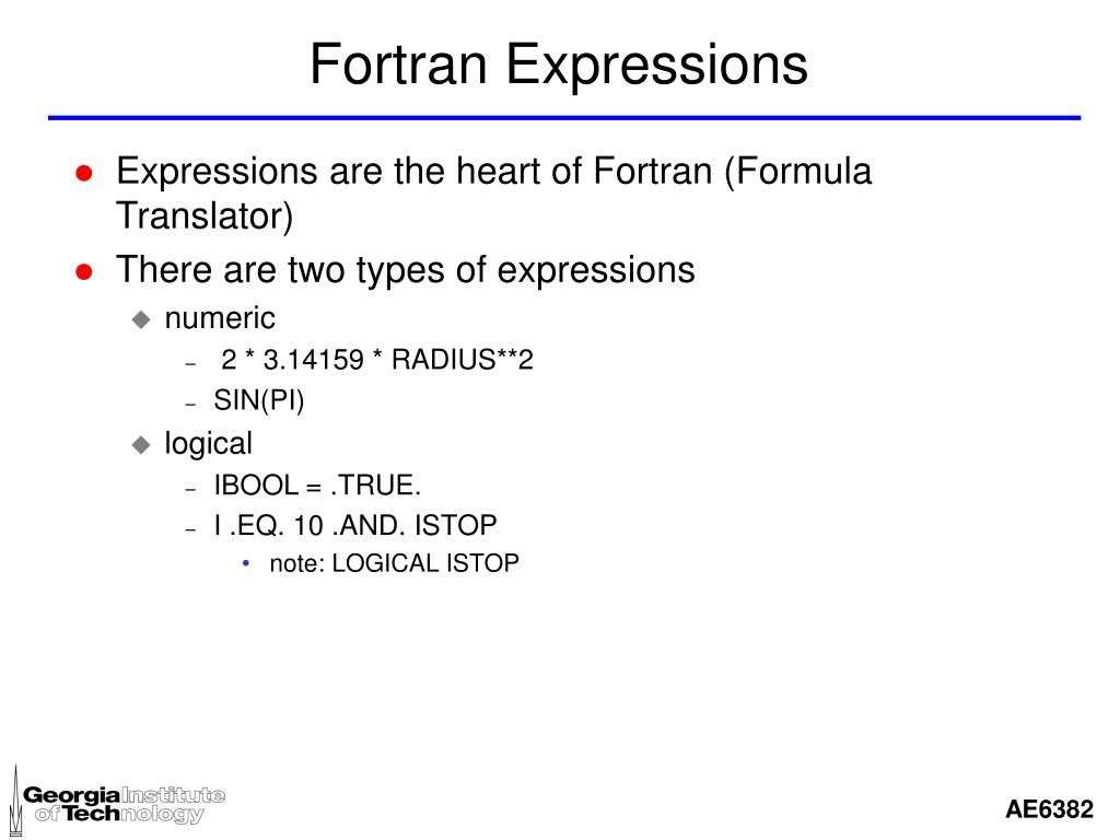 Fortran Expressions