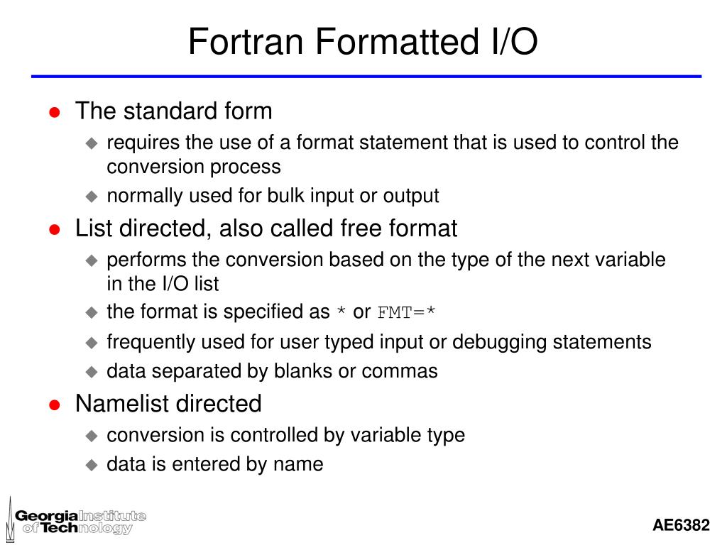 Fortran Formatted I/O