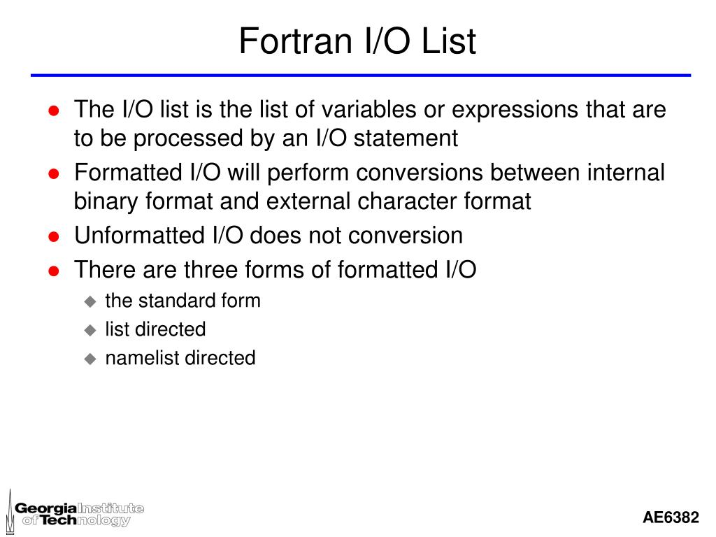 Fortran I/O List