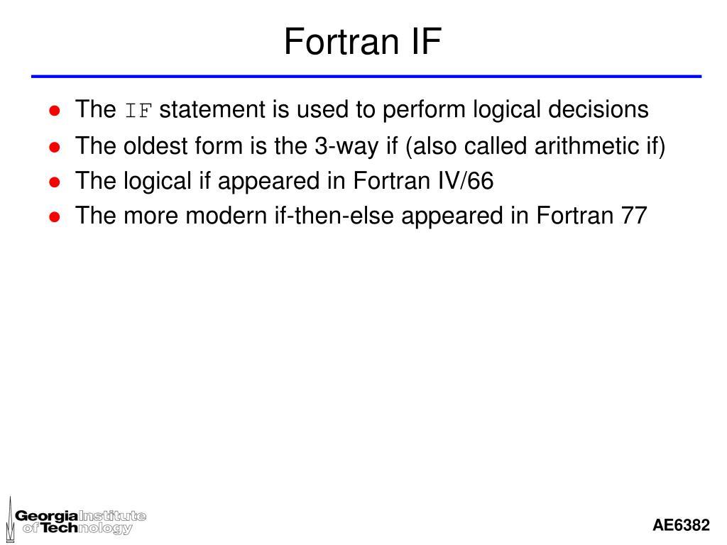 Fortran IF