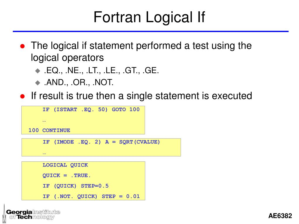 Fortran Logical If