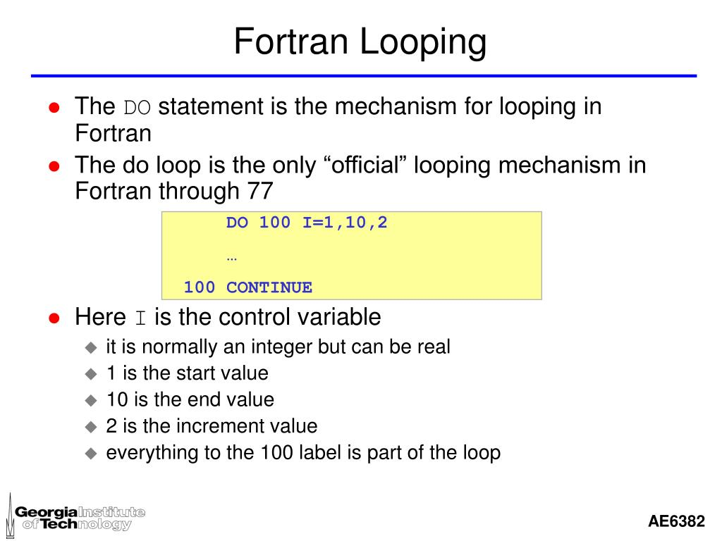 Fortran Looping