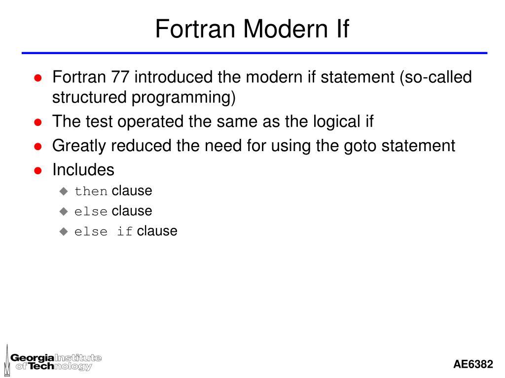Fortran Modern If