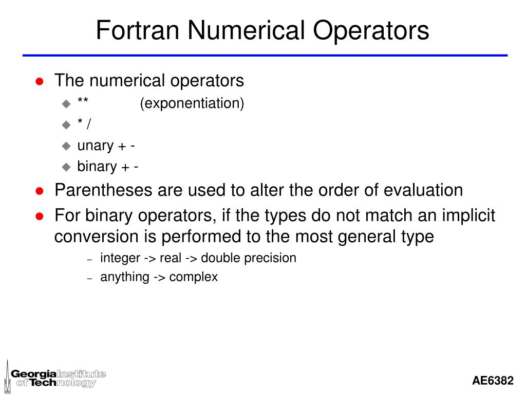 Fortran Numerical Operators