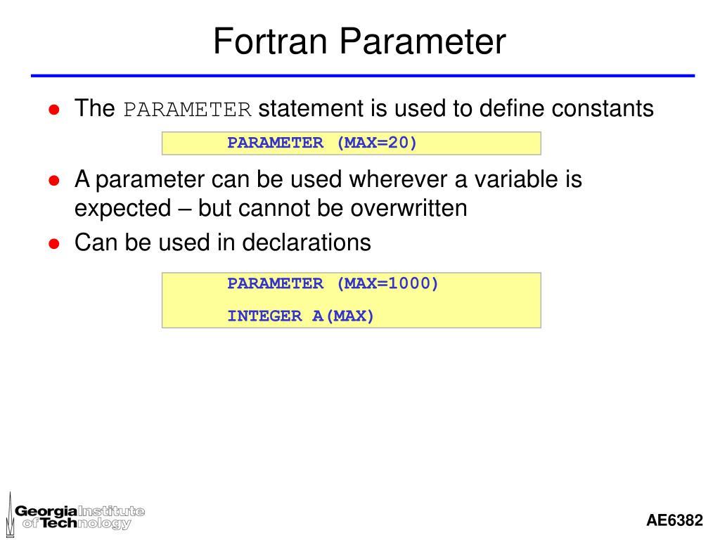 Fortran Parameter
