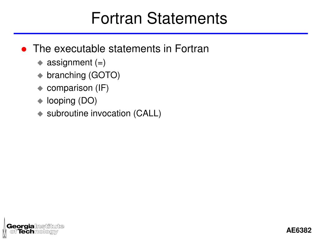 Fortran Statements