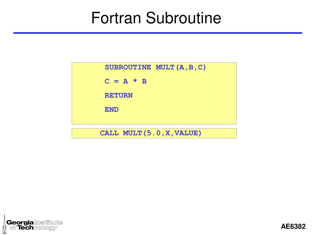 Fortran Subroutine