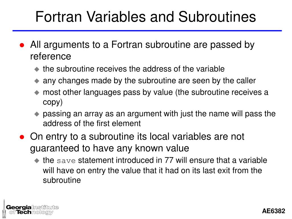 Fortran Variables and Subroutines