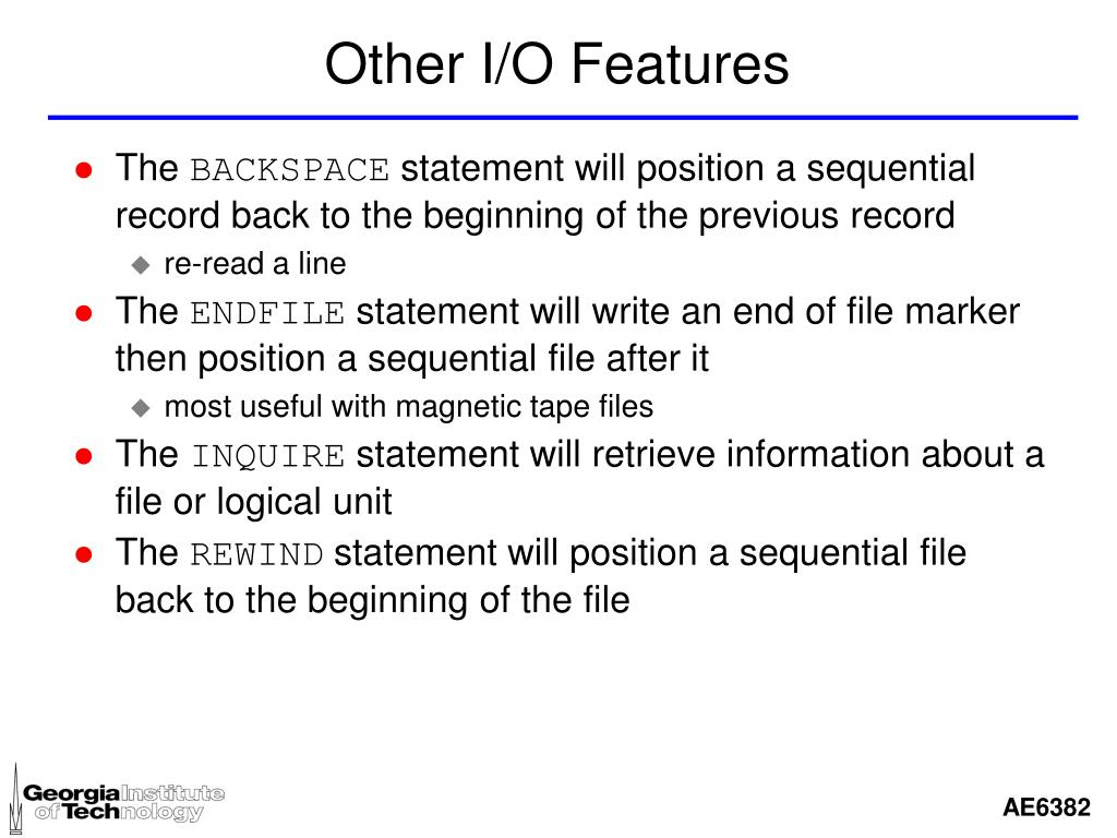 Other I/O Features