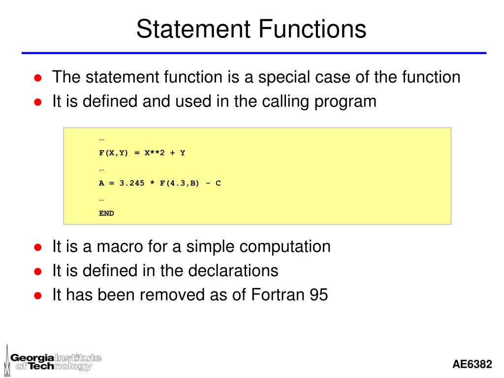 Statement Functions