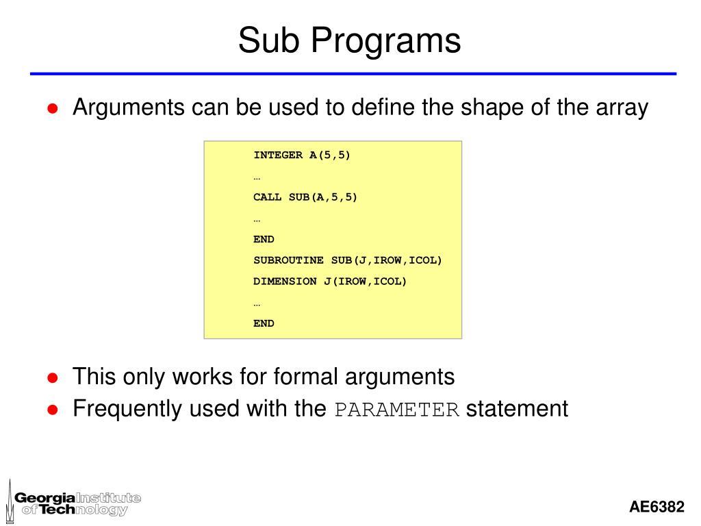 Sub Programs