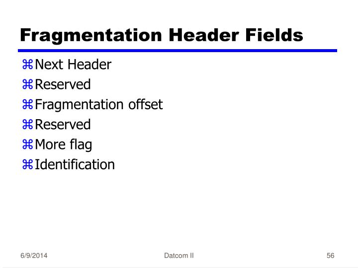 Fragmentation Header Fields