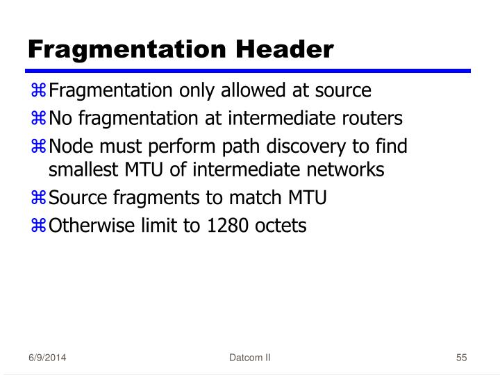 Fragmentation Header