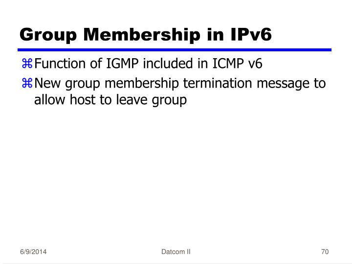 Group Membership in IPv6