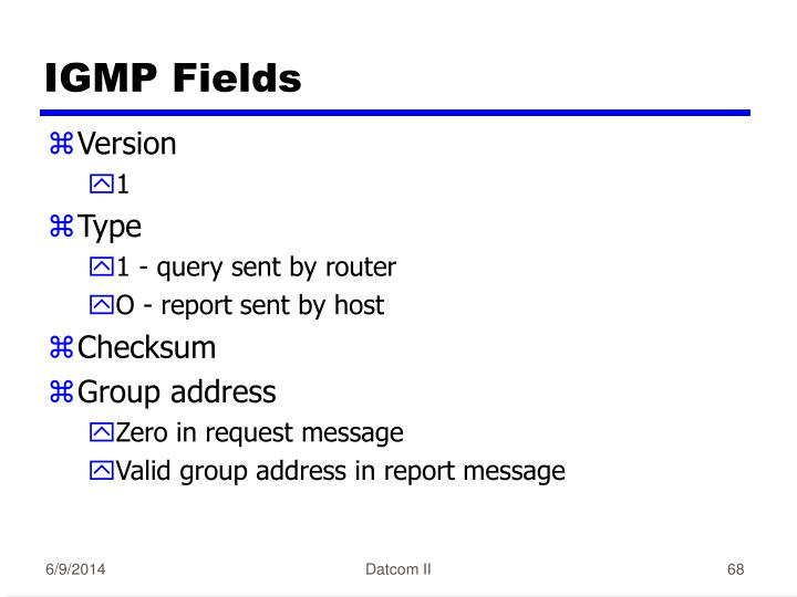 IGMP Fields