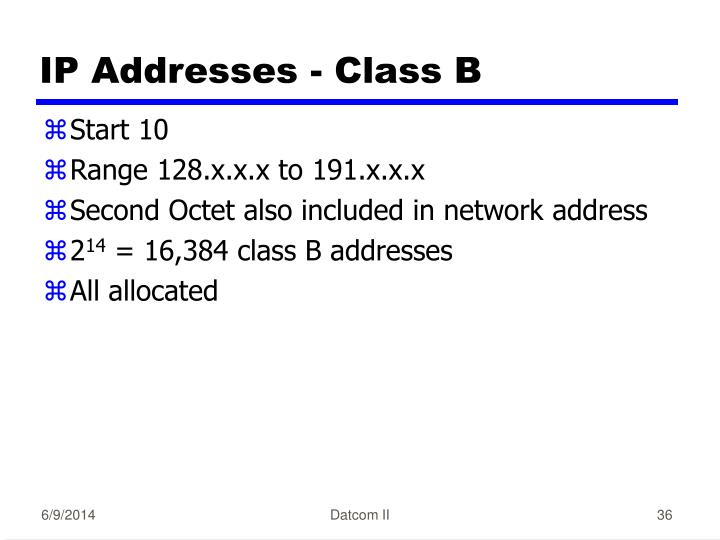 IP Addresses - Class B