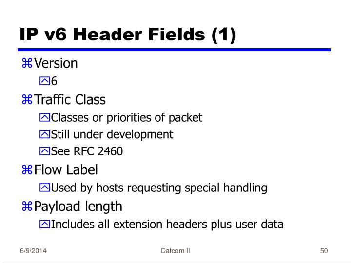 IP v6 Header Fields (1)