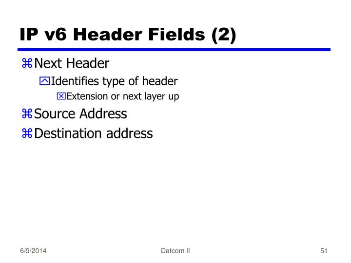 IP v6 Header Fields (2)