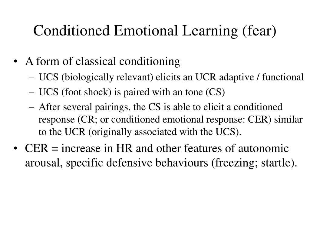 Conditioned Emotional Learning (fear)