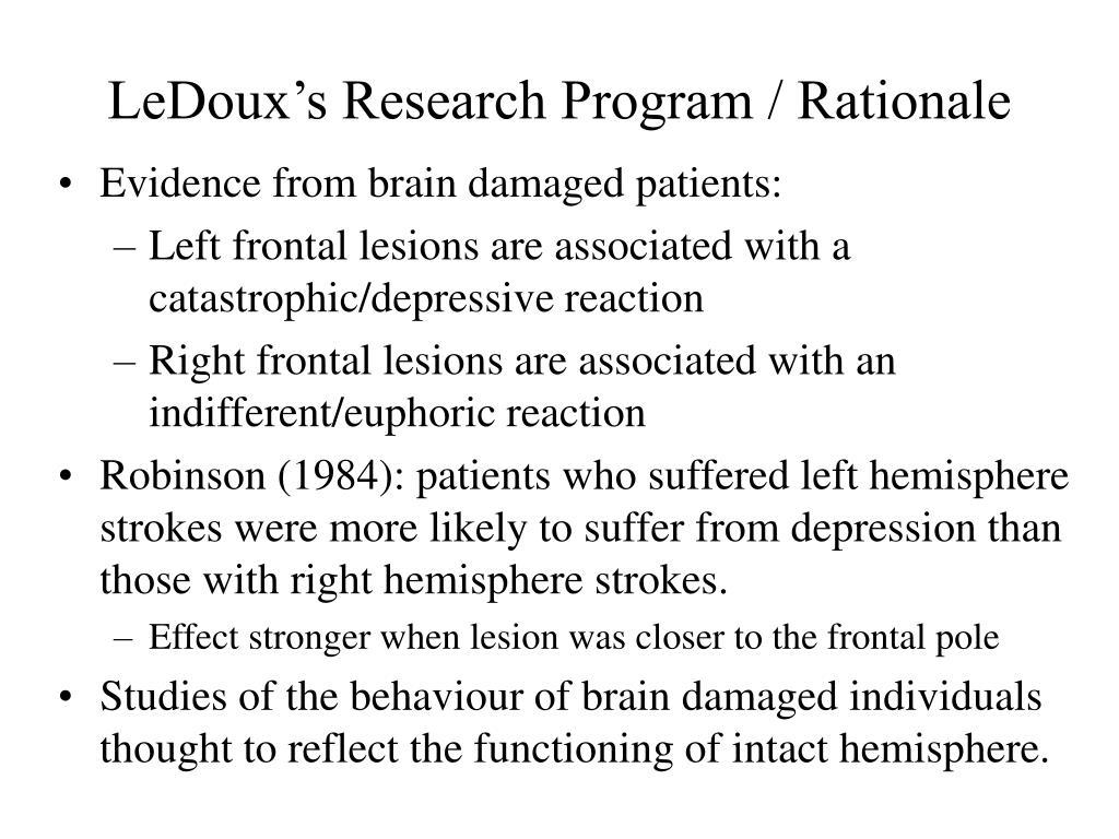 LeDoux's Research Program / Rationale