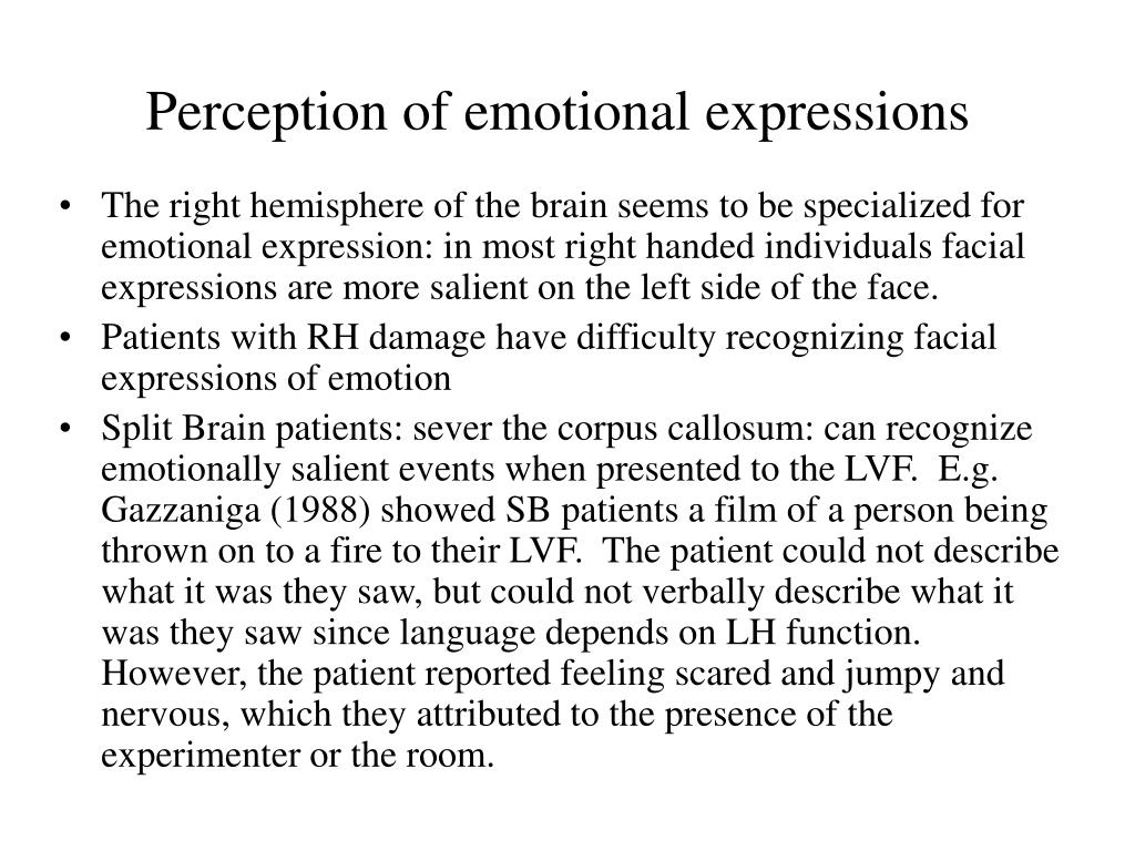 Perception of emotional expressions