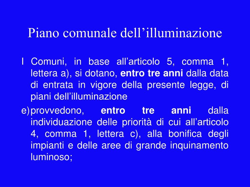 Piano comunale dell'illuminazione