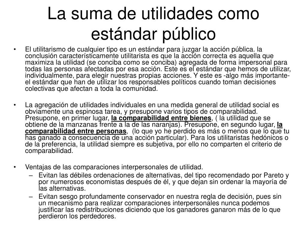 La suma de utilidades como estándar público