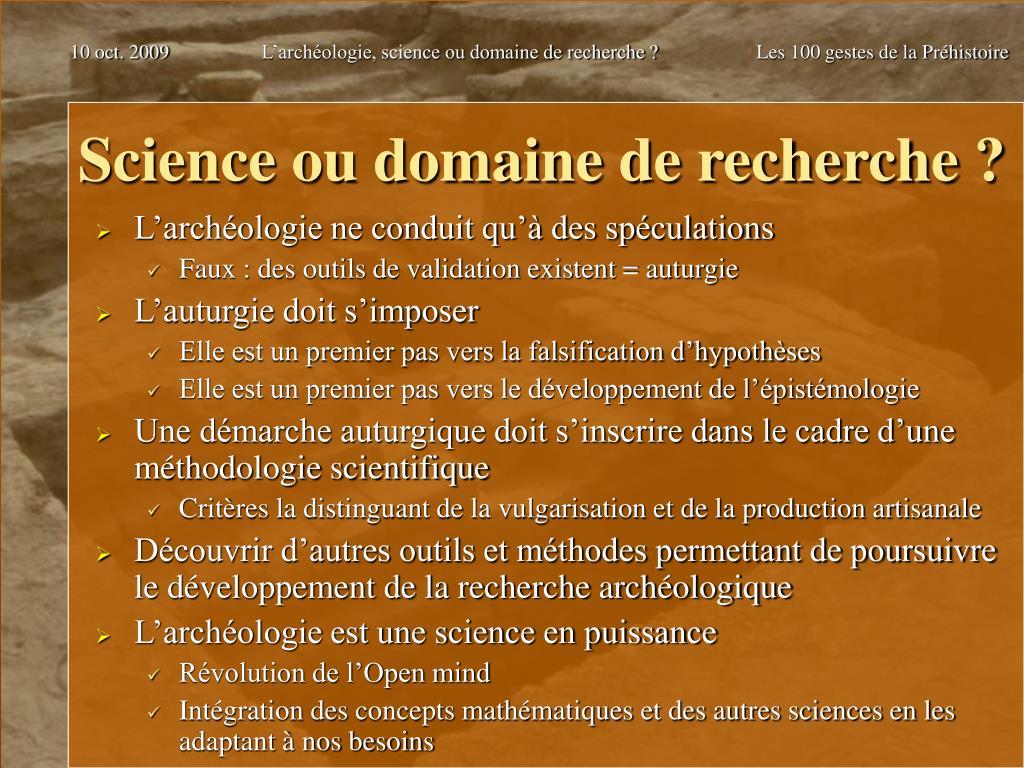 Science ou domaine de recherche ?