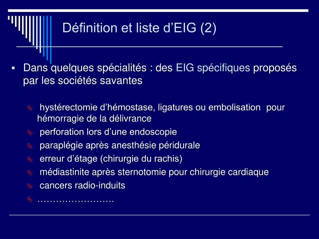 Définition et liste d'EIG (2)