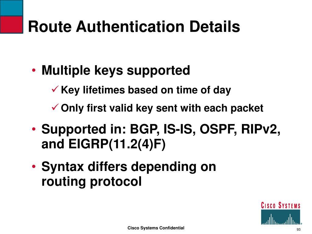 Route Authentication Details