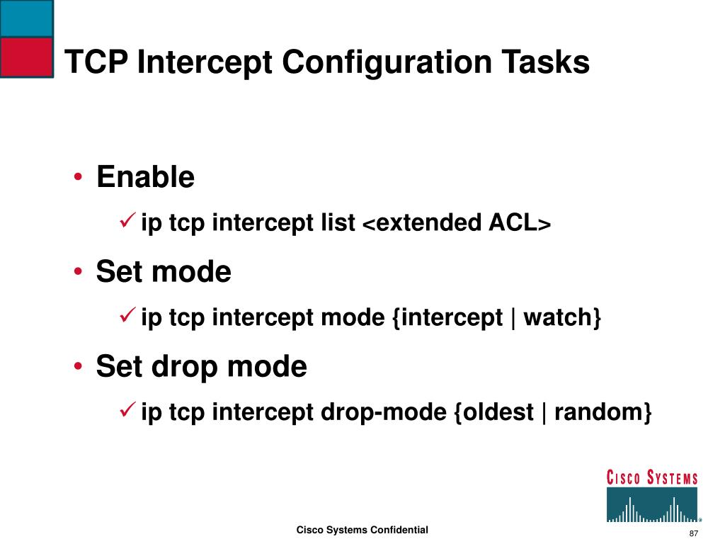 TCP Intercept Configuration Tasks