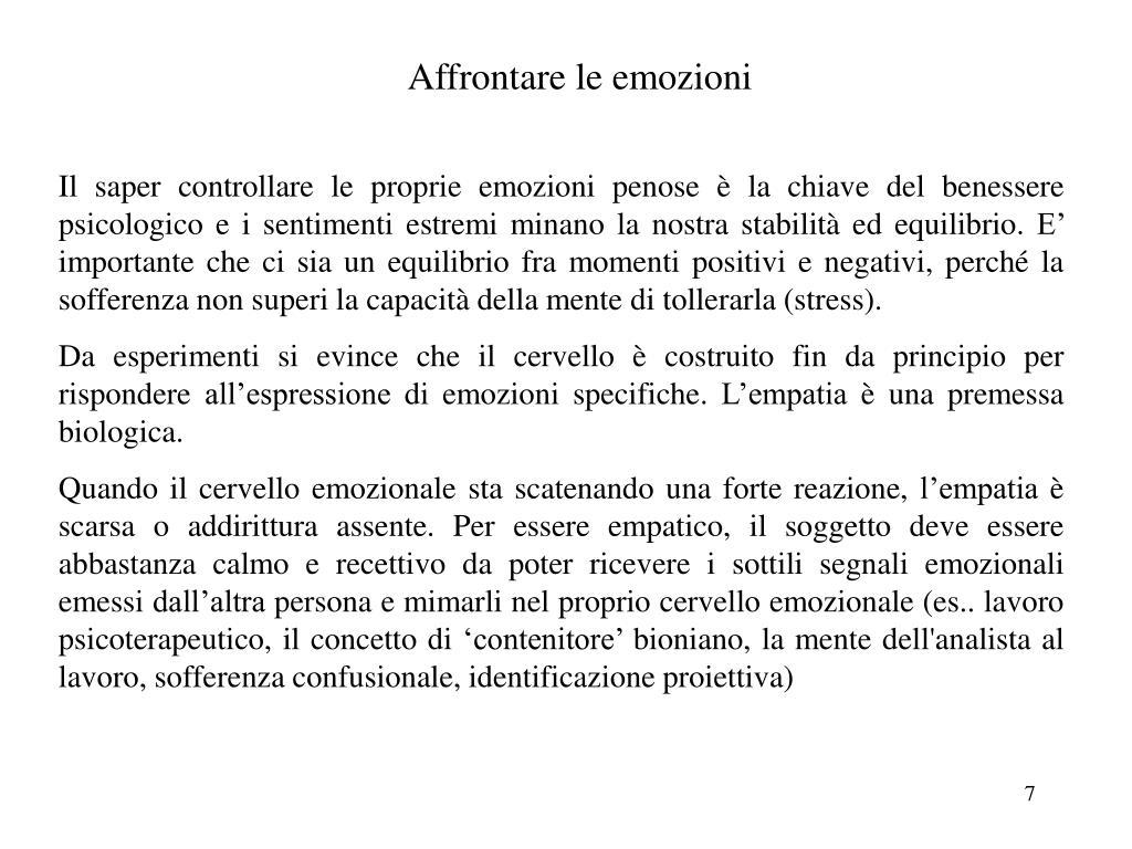 Affrontare le emozioni